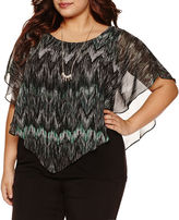 Alyx Short Sleeve Chevron Blouse with Necklace-Plus