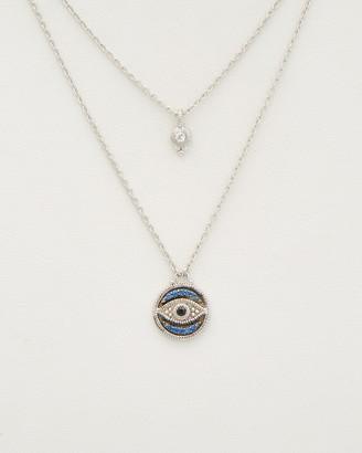 Judith Ripka Silver 0.18 Ct. Tw. Gemstone Double Strand Evil Eye Necklace