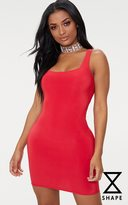 PrettyLittleThing Shape Red Slinky Scoop Neck Bodycon Dress