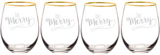Cathy's Concepts Cathys Concepts Be Merry 19.25Oz Gold Rim Stemless Wine Glasses (Set Of 4)