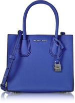 Michael Kors Mercer Medium Electric Blue Pebble Leather Crossbody Bag