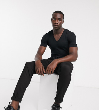 ASOS DESIGN Tall t-shirt with deep v neck in black