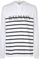 Balmain Striped Hooded Logo T-shirt