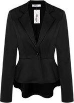 Meaneor Women's Crop Frill Shift Slim Fit Peplum Blazer Jacket Coat XL