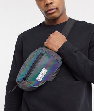 Bershka reflective bum bag in iridescent silver