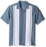 Cubavera Men's Short-Sleeve Camp Collar Panel Embroidery Print