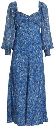 Rixo Miriam Lurex Midi Dress