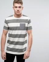Brave Soul Wide Slub Herringbone Stripe T-Shirt