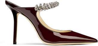 Jimmy Choo BING 100 Bordeaux Patent Leather Mules with Crystal Strap