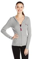 U.S. Polo Assn. Juniors' Cable-Knit Zip-Front Hooded Cardigan Sweater