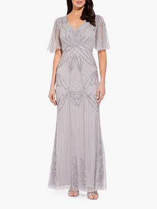 Adrianna Papell Beaded Long Dress, Bridal Silver