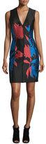 Carolina Herrera Sleeveless Floral-Print Sheath Dress