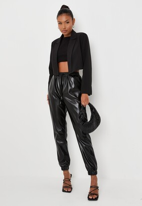 Missguided Petite Black Faux Leather Jogger Trousers