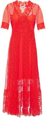 Maje Cotton-blend Point D'esprit And Guipure Lace Midi Dress