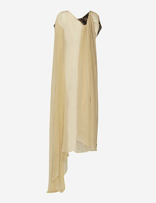 UMA WANG Cape asymmetric crepe midi dress