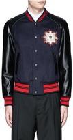 Alexander McQueen Leather sleeve wool felt baseball jacket