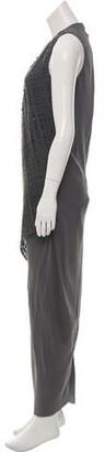 Brunello Cucinelli Crochet Trim Silk Dress Grey