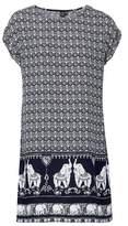 Dorothy Perkins Womens Izabel London Navy Elephant Print Shift Dress, Navy