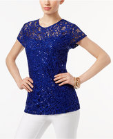 INC International Concepts Petite Sequined Lace Top, Only at Macy's