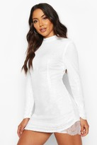 boohoo Sequin High Neck Lace Insert Mini