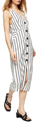 Topshop Stripe Pinafore Midi Dress