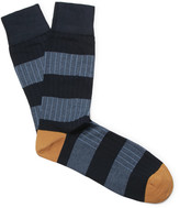 Corgi - Striped Ribbed Cotton-blend Socks