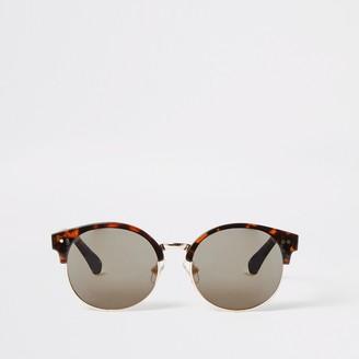 River Island Girls Brown tortoiseshell round sunglasses