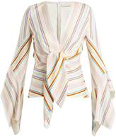 Peter Pilotto Striped knot-detail bell-sleeved top