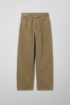 Weekday Rail Mid Straight Jeans - Beige