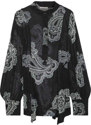 Zimmermann Whitewave Fluted Printed Georgette Blouse