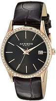 Akribos XXIV Women's AK883BKR Round Black Dial Three Hand Quartz Rose Gold Tone Strap Watch