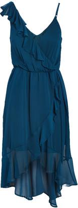 Ash Max + Women's Casual Dresses teal - Teal Asymmetrical Ruffle-Accent Surplice Dress - Women