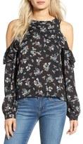 BP Women's Floral Print Cold Shoulder Top