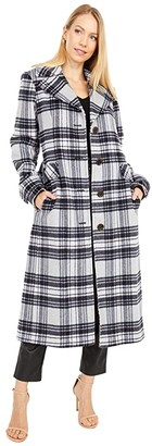 Kate Spade Plaid Belted Wool Maxi Coat (Grey Plaid) Women's Coat