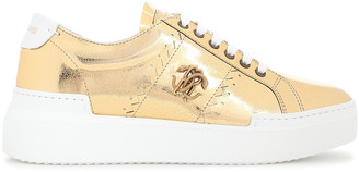 Roberto Cavalli Appliqued Metallic Cracked-leather Platform Sneakers