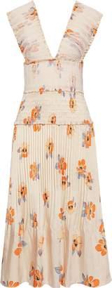 Nicholas Shirred Pleated Floral-print Satin-twill Midi Dress