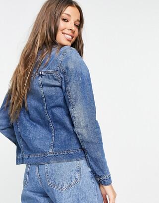 Brave Soul Bloom denim jacket in mid wash blue