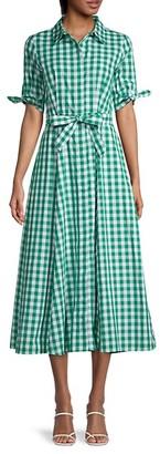 Calvin Klein Checkered Cotton-Blend Shirtdress