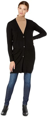 Pendleton Merino Long Cardigan (Black) Women's Sweater