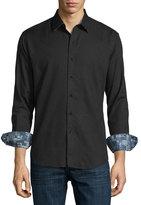 Robert Graham Lazzaro Tonal Jacquard Sport Shirt, Black