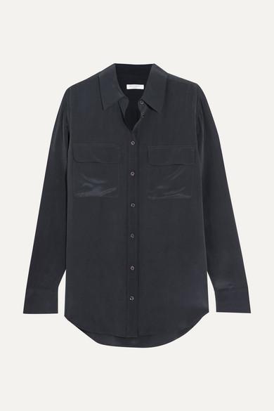 Equipment Signature Washed-silk Shirt - Navy