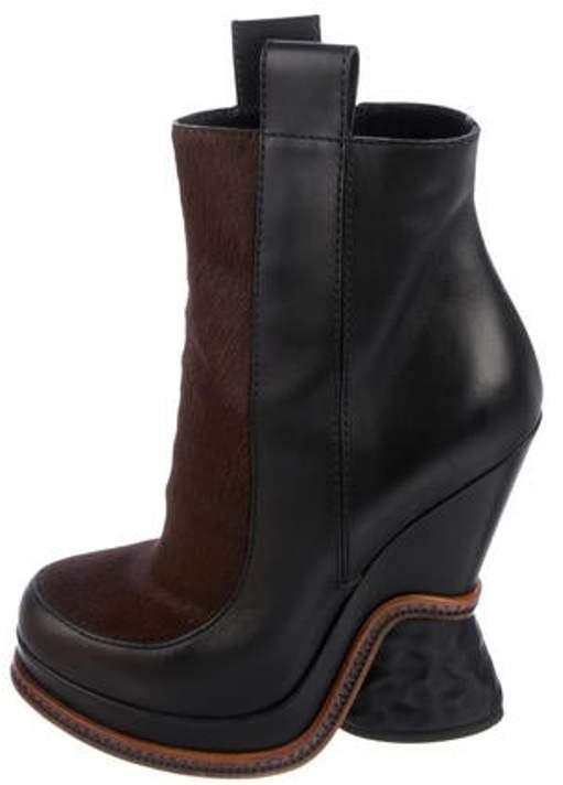 Fendi Leather Platform Boots Black Leather Platform Boots
