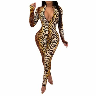 AOGOTO Womens Leopard Print Rompers Slim Casual Zip Jumpsuit V Neck Playsuit Yellow