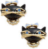 Kate Spade Gold-Tone Crystal and Enamel Black Cat Stud Earrings