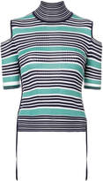 Fendi striped cold-shoulder top
