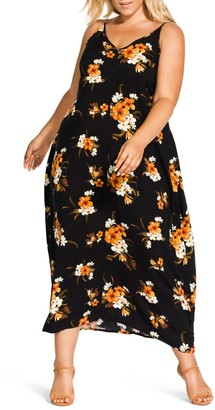 City Chic Aruba Flora Print Maxi Dress