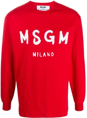 MSGM paint brushed long-sleeved T-shirt