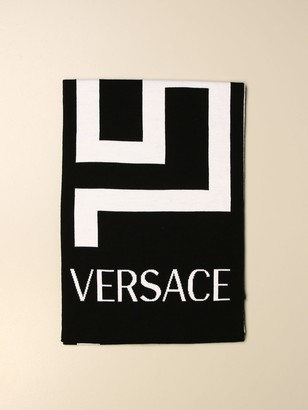 Versace Scarf Wool Scarf With Greek And Logo