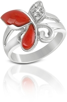 Del Gatto Diamond and Red Coral Butterfly 18K Gold Ring