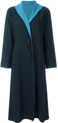 Issey Miyake Pre Owned Contrast Lapel Coat